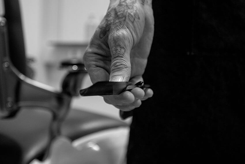 Plano detalle cuchilla afeitar