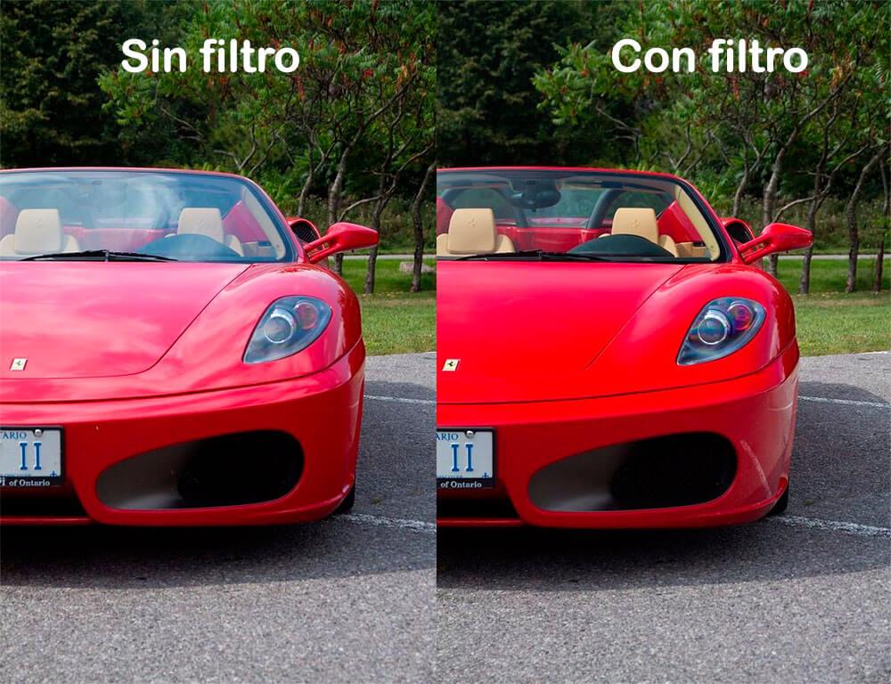 Ejemplo de fotografía polarizada en un coche
